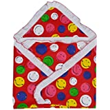 GURU KRIPA BABY PRODUCTS ® Presents New Born Baby High Quality 100% Cotton Soft To Baby Delicate . Skin Cartoon Print Hooded Chaddar Cum Odddna Wrapping Wrapper Sheet Double Layer Baby Sleeping Cotton Sheet (Red)