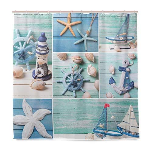 vinlin Ocean Marine Seestern Seashell Wasserdicht Badezimmer Zubehör Vorhang für die Dusche Badewanne Vorhang 182,9x 182,9cm