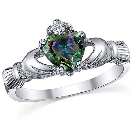 Damen Sterling Silber 925 Claddagh Ring Mit Regenbogen Topas Herz Zirkonia Bequemlichkeit Passen,Größe 47