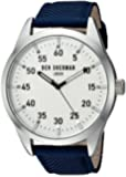 Ben Sherman Men's Quartz Watch with White Dial Analogue Display and Black Fabric and Canvas Strap WB031U