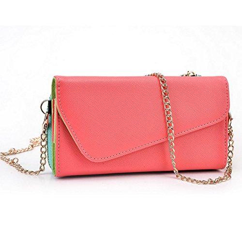 Kroo d'embrayage portefeuille avec dragonne et sangle bandoulière pour SHUKAN A21/q44Smartphone Multicolore - Green and Pink Multicolore - Rouge/vert
