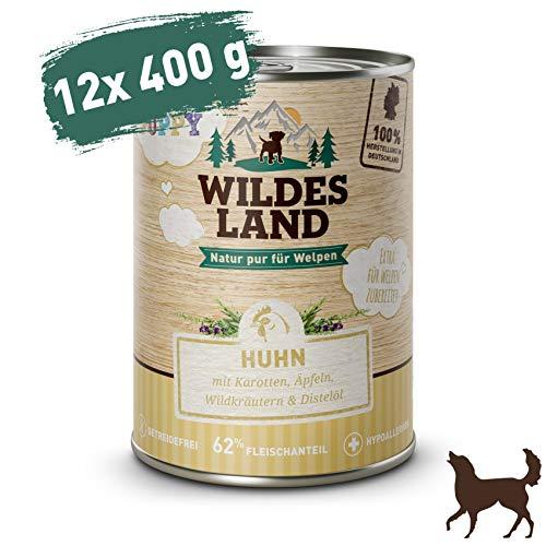 Wildes Land | Nassfutter für Hunde | Puppy Huhn | 12 x 400 g | mit Karotten, Äpfeln, Wildkräutern & Distelöl | Glutenfrei | Extra viel Fleisch | Beste Akzeptanz und Verträglichkeit - Futter Napf Hühner