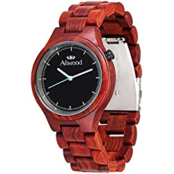 (Wooden Gift Box Packaging) Aliwood Handmade Round Red Sandlewood Wooden Wristwatch, Natural Sandle Wood Wrist Watch Japanese Quartz Movement Watch with Wooden Watch Band Bracelet Strap