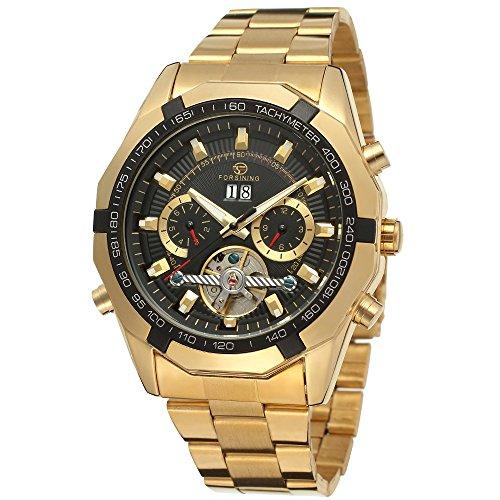Reloj de pulsera automático de tourbillon Forsining, estilo militar de acero inoxidable, FSG340M4G1