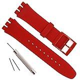 Impermeabile in Gomma Siliconica Orologio da Polso Cinturino per Swatch (17mm 19mm 20mm) (17mm, Red)