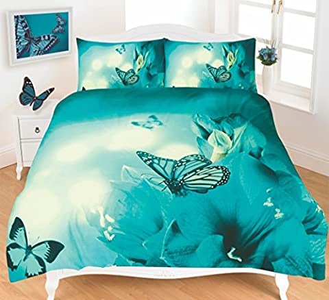 Duvet Cover Set 3D Animal Print Effect Quilt Bedding Set New (Double, Butterfly Teal)