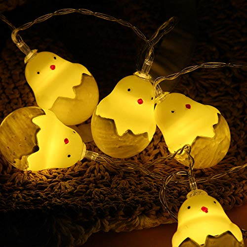Led Lichterketten Vorhang Fenster Batterie Betrieben Outdoor Fairy Kinderzimmerlampe Führte Tierform Halloween-Kleine Gelbe Entenkükenlicht-Thema-Parteiplanlichter@Huhn 1,5 M 10 Leichte Zwei Batterien