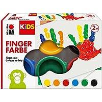 Marabu Kids-Pintura para Dedos (6 x 35 ml), Color Amarillo, Naranja, Rojo, Azul, Verde y Negro, carbón (0303000000085)