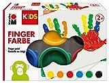 Marabu 0303000000085 - Kids Fingerfarbe Set mit 6 leuchtenden Farben a 35 ml, parabenfrei, vegan, laktosefrei, glutenfrei, geeignet zum Malen in Kindergarten, Schule, Therapie und zu Hause