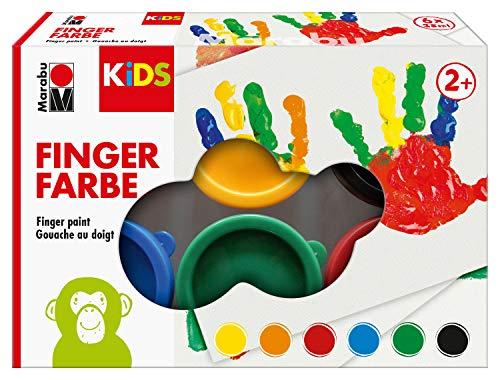 Marabu 0303000000085 - Kids Fingerfarbe Set mit 6 leuchtenden Farben a 35 ml, parabenfrei, vegan, laktosefrei, glutenfrei, geeignet zum Malen in Kindergarten, Schule, Therapie und zu Hause -