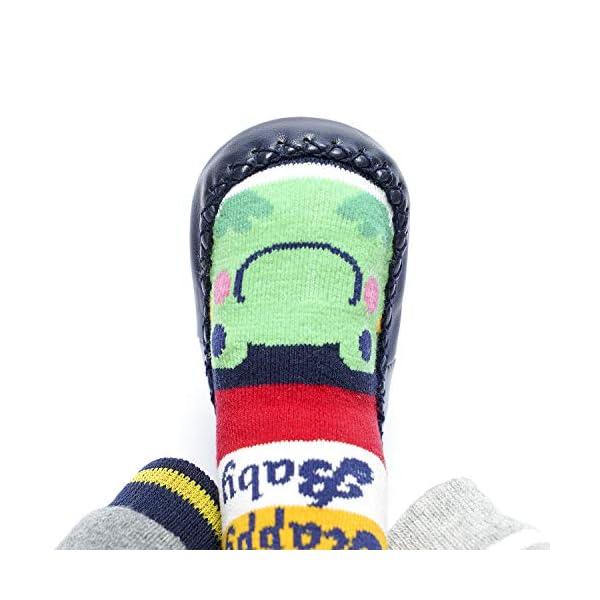 Adorel Calcetines Zapatos Antideslizantes para Bebé 3 Pares 4