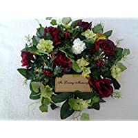 "Artificial Christmas Grave Wreath 14"" - Luxury Range - Includes Plaque"
