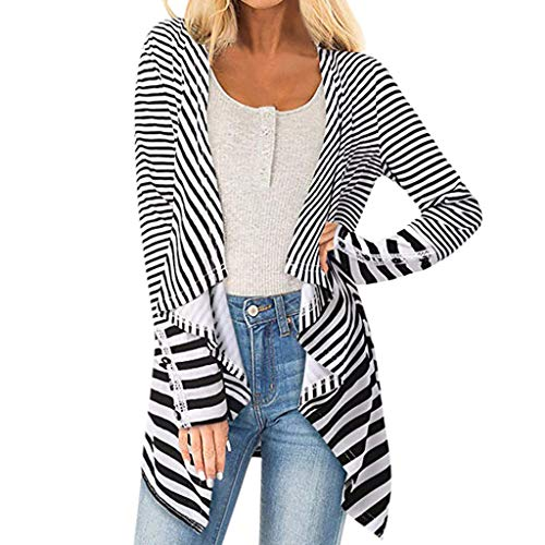 Merino-zip-front-strickjacke (Zegeey Strickjacke Gestreift Damen Langarm Mode Herbst LäSsig Elegant Lose Outwear Jacke Pulli Langer Pullover Bluse Oberteile Shirt(Schwarz,EU-40/CN-L))