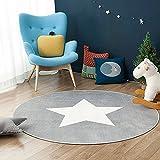 GWELL Sterne Fußmatten Runde Teppich Kinderzimmer Weich Plüsch Anti-Rutsch Kinderteppich für Schlafzimmer Wohnzimmer (60 x 60 cm, grau)