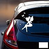 ilka parey wandtattoo-welt® Autotattoo Heckscheibenaufkleber Fahrzeug Sticker Aufkleber Baby Name Elfe Fee mit Schmetterlingen M1870 - ausgewählte Farbe: *weiß* ausgewählte Größe: *M - 11cm breit x 16cm hoch*