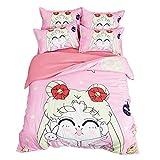 ZHOUING-- Sailor Moon 3Pc Bettbezug-Set gedruckt Bettwäsche-Set für Kinder & Erwachsene/atmungsaktiv / weich, Multicolor,1.5m