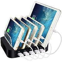 Estación de Carga USB, ELEGIANT Cargador Múltiple con 5 Puertos 2.4A para Dispositivos IOS Android