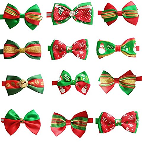 BIPY Bowties for Pet Dogs Christmas Collar Puppy Small Dog Cat Bow Ties Necktie Assorted Styles for Party Grooming Accessories Pack of 10