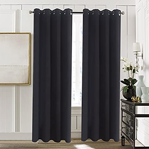 Grommet Blackout Curtains Window Treatments - Aquazolax Solid Thermal Insulated