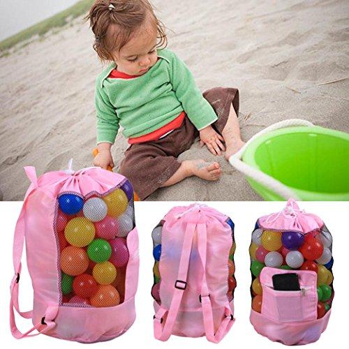 Baby Strand Tragbare Kinder Spielzeug Organizer Aufbewahrungstasche Outdoor Beach Shell Sand Strandspielzeug Tasche (Pink)