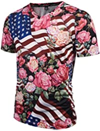 Pizoff Unisex Schmale Passform V-Ausschnitt T Shirts mit Bunt 3D Digital Print Muster