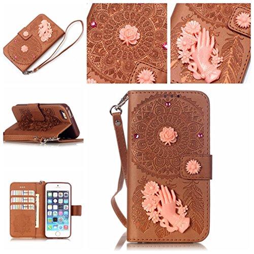 Mk Shop Limited Housse iPhone SE / 5 / 5S, Etui en PU Cuir Portefeuille Coque pour Apple iPhone SE / 5 / 5S Modèle Case avec Fonction Support Stand Multi-couleur 1