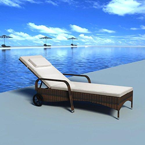 Lettino Spiaggia Mare Con Ruote Sedia Sdraio Trolley.Lettino Prendisole In Polirattan Con Cuscini E 2 Ruote Marrone