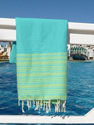 Fouta 'Biarritz' | turchese con strisce lime | 100 x 190 cm | Asciugamano hammam | Molto lussuoso | 100% in puro cotone di alta qualità | Disegno esclusivo ZusenZomer