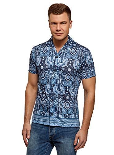 oodji Ultra Herren Bedrucktes Hemd mit Kurzen Ärmeln, Blau, Herstellergröße 0 (Kragenweite 0 cm)/ DE 50 / M -