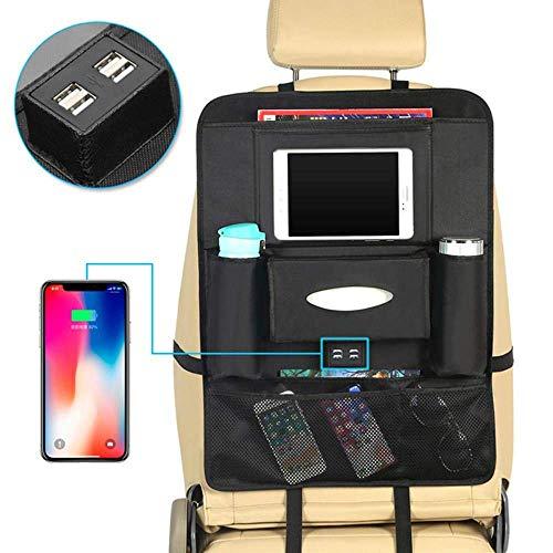 Ximger Autositz-Organizer Organizer mit 4 USB-Ladestation, Aufbewahrungstasche für Tablet, mobiler Halter mit Aufbewahrung und Schutz für mehrere Taschen Rücksitzschutz