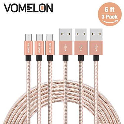 Micro USB Kabel, 3Pack 6FT Nylon geflochtene Hochgeschwindigkeits-Synchronisierung u. Aufladenkabel Ein Mann zum Mikro B für Samsung, HTC, LG, HP, Sony, die meisten Android-Telefone und mehr