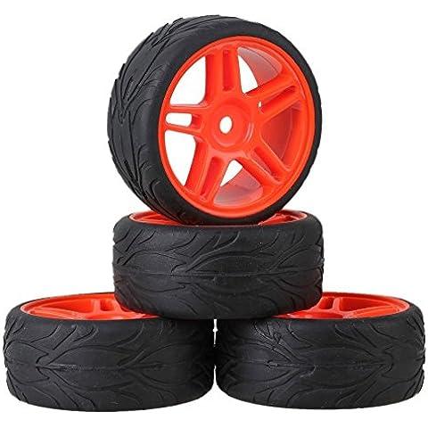 Youzone RC 1:10 On-road Pesce Nero auto modello della scala di pneumatici in gomma e plastica Red Pentagram cerchione 12 millimetri esagonale (confezione da 4)