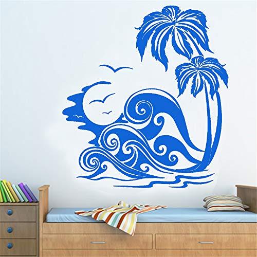 yiyiyaya Meereswellen Und Palmen Strand Wandaufkleber Removable Home Decor Wandbilder Wohnzimmer Schlafzimmer Dekoration 64x58 cm