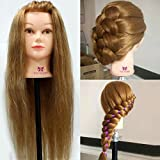 """Neverland Professional 26"""" 95% Real Hair Hairdressing Equipment Styling Head Doll Mannequin Training Head Tools Braiding Cutting Student Practice Model with Clamp"""