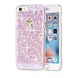 Movoja iPhone 5 / 5S / SE TPU Glitzer-Hülle – Pailletten Glitzer Schutzhülle Case Crystal Case mit Glitzer Bling Bling Uni Design Muster Beschichtung iPhone-5-5S-SE Pink/Rose