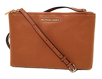 Michael Kors Jet Set Travel Double Zip Gusset Signature Crossbody (Brown/Acorn)