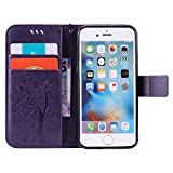 C-Super Mall-UK Apple iPhone 5 / 5S / SE Case, Embossed Tree Cat Butterfly Pattern PU Leather Wallet Stand Flip Case for Apple iPhone 5 / 5S / SE(Not For Apple iPhone 5C) (purple) thumbnail
