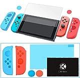 CamKix Griff- und Schutzkit kompatibel mit Nintendo Switch: 2x Joy Con Cover, 2x Daumengriff-Cover, 1x Anti-Scratch Displayschutz, 1x Reinigungstuch - Extra Halt und Schutz - Perfekte Passform