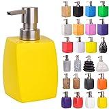 Seifenspender   viele schöne Seifenspender zur Auswahl   modernes, stylisches Design   Blickfang für jedes Badezimmer (Wave Gelb)
