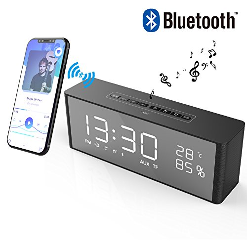 Radio Uhr Wecker (Bluetooth Lautsprecher mit 2 Digital Wecker+FM Radio, LED-Anzeige, Sprachanruf, TF-Karte, AUX-Kabel,Uhr,wireless tragbar lautsprecher mit extra großem Display Schwarz)