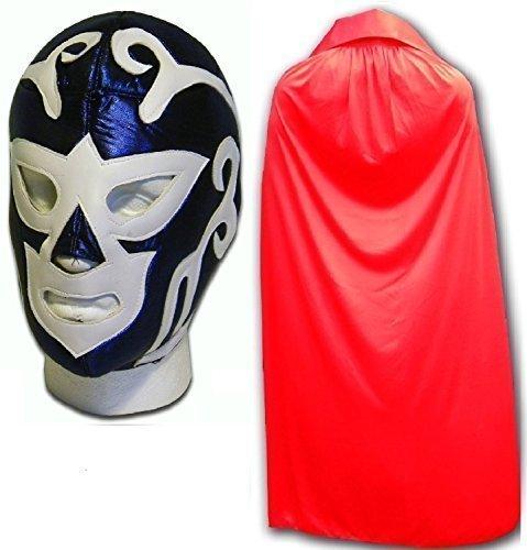 HURACAN blau Erwachsene mexikanischen Wrestlers Mexican Wrestling Maske W/Rot - Mexikanische Wrestling-cape