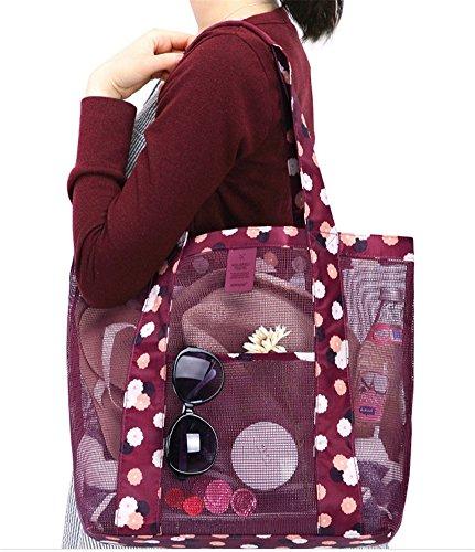 Fortunings JDS Sacchetto di spalla del sacchetto di immagazzinaggio di Sunglass della borsa di spiaggia della maglia delle donne di modo Rosso