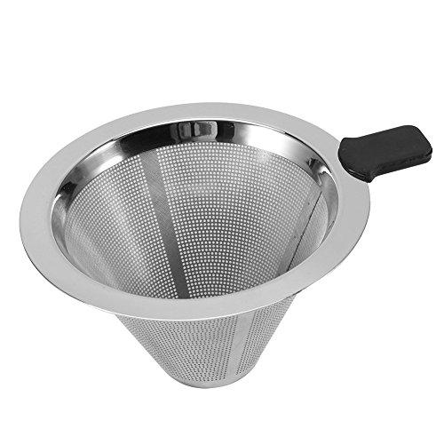 Edelstahl Kaffeefilter, Netz Kegel Geformter Kaffee Tropfentrichter Filter Teesieb Silikon Griff