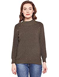107ea660f6 CAMEY Women Green High Neck Twisted Cable Knit Girl Print Pullover Sweater