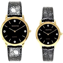 Montine Ladies Gents Black Strap Dial Gold Bezel Wrist Watch Set MOX0004SET
