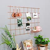 """Rose Gold Copper Metal Grid Panel, Wall Sculptures Photo Craft Display Panel,Sculptural Frames & Holders Wall Decoration & Organization,Pack of 1,Size:31.5"""" x 20.5"""""""