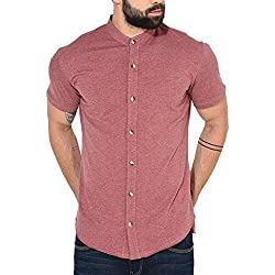 GRITSTONES Men's Cotton Half Sleeve Shirt Pink_Small