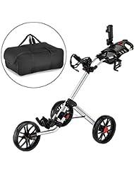 CaddyTek Super Deluxe Quad Fold Golf cart-black mit Aufbewahrungstasche