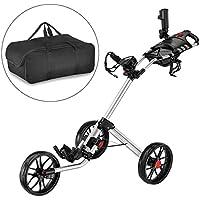 CaddyTek Super Deluxe Quad plegable - Carrito de golf con bolsa de almacenamiento, plata
