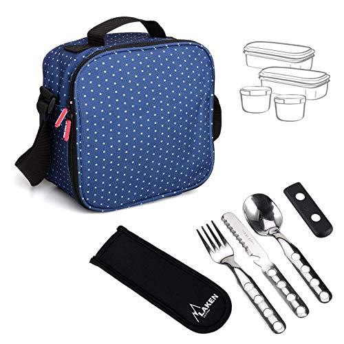 TATAY Kit Urban Food Dots Blu con Posate - Porta Alimenti da Zaino con Ermetici Incluso, Misure 10 x 22.5 x 22 cm